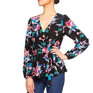 Yumi Kim black floral soho chic silk wrap blouse